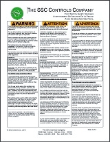 SSC Controls - Foot Switch Safety Warning Sheet