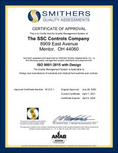 SSC Controls ISO 9001 Quality System Certificate of Approval - The Foot Switch Experts